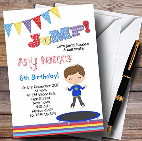 Kinderfeestje nodigt Brunette Boy Trampoline Kids Verjaardagsfeestjes uit met Enveloppen - Elke aangepaste tekst voor elke gelegenheid 70 Cards & Envelopes