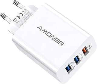 Amoner USB Ladegerät USB Stecker 33W Ladestation Ladeadapter 3 Port 33W Netzteile für iPhone13,12,13pro,Tablette,Samsung, ...