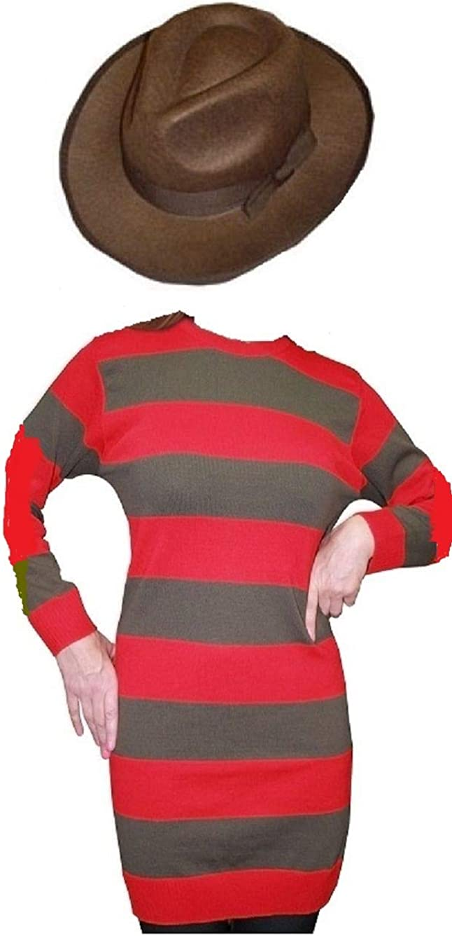 Halloween Fancy Dress Ladies Freddy Nightmare Elm Street Jumper Red And Green