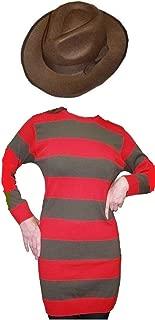 Ladies Costume Red Striped Jumper & Hat Halloween Fancy Dress