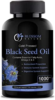 Black Seed Oil 1000mg Supplement-Antioxidant & Anti Inflammatory Support for Heart Health,Immune & Digestive Systems-120 C...