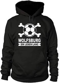 shirtloge - Wolfsburg - EIN Leben Lang - Fan Kapuzenpullover - Größe S - 3XL