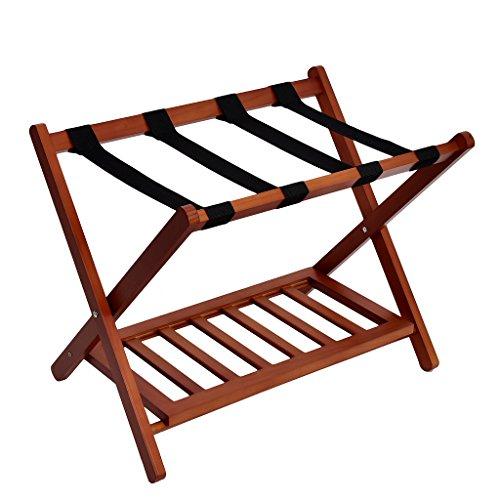 Great Price! WELLAND Wood Folding Luggage Rack Suitcase Organization with Shelf, Light Cherry