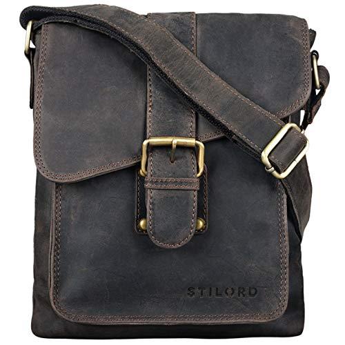STILORD Mattia kleine Umhängetasche Herren Leder Vintage iPad Hülle 10,1 Zoll Tablettasche Schultertasche Messenger Bag Rindsleder Antik, Farbe:dunkel - braun