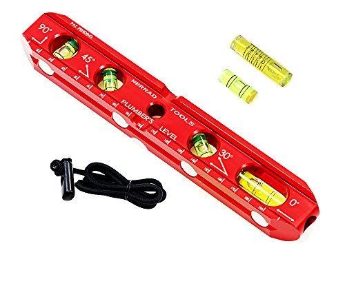 Nerrad outils Ntplvl1 Niveau Bateau en aluminium avec fioles de rechange et sangle, Rouge