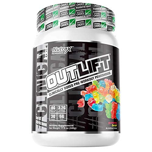 Outlift Pre-Workout Powerhouse, Best Pre Workout with Citrulline, BCAA, Creatine, Beta-Alanine, Banned Substance Free, Gummy Bear, 20 Servings