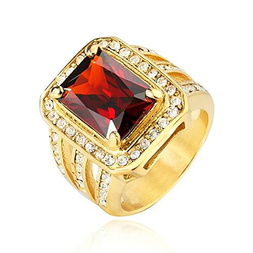 ROMQUEEN Siegelring Lagenstein Edelstahl Ring Für Männer Seitenstreifen,Rot,Ringgrößen 57 (18.1)