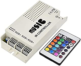 LEDwholesalers 3-Port Music Controller with Wireless IR Remote for RGB Color-Changing LED Strips and Modules, 3322RGB