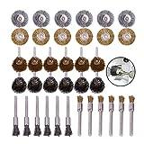 36PCS Cepillos de alambre de acero para ruedas de latón Almohadilla de pulido Cepillos de ruedas de pulido Conjunto mixto para herramienta giratoria de oro