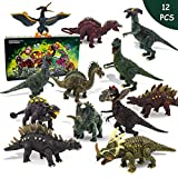 NVioToys Dinosaur Toys for Boys and Girls with Dinosaur Book, 12pcs Realistic Dinosaur Toy Set with Movable Jaws