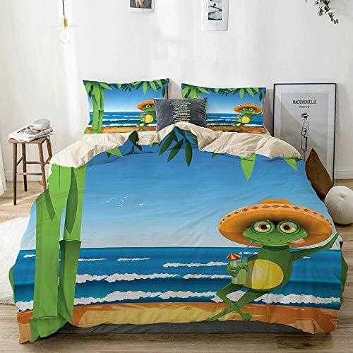 Juego de funda nórdica beige, una rana en la playa de arena con palmeras y estampado tropical del océano, juego de cama decorativo de 3 piezas con 2 fundas de almohada, fácil cuidado, antialérgico, su