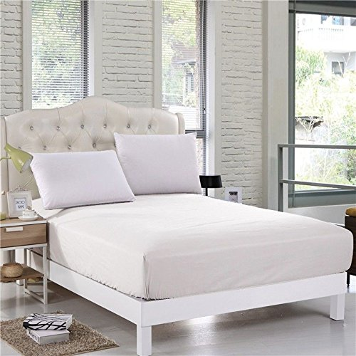 Sapphire Collection 800 Thread Count Pure Egyptian Cotton Super Soft Hotel Quality 40CM/16 Inch Deep Fitted Bed Sheet (White, King)