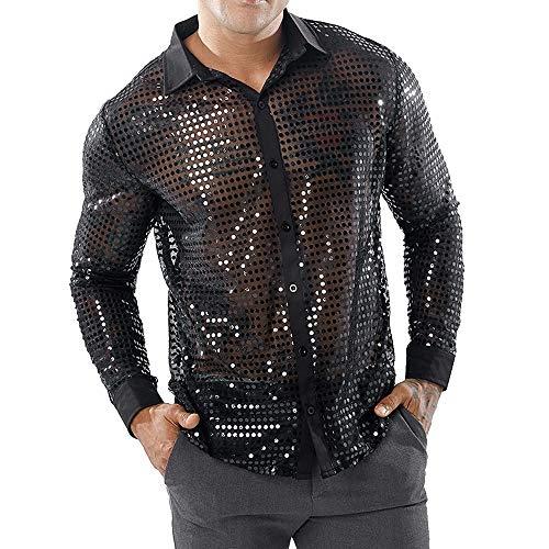 Herren Pailletten Hemd Kleid Shirt 70er Disco Party Kustüm Langarmshirt Glitzer Pullover Bluse T-Shirt Oberteile Shirt BlouseTops für Nightclub Party Tanzen Disco Halloween Cosplay (Schwarz, S)