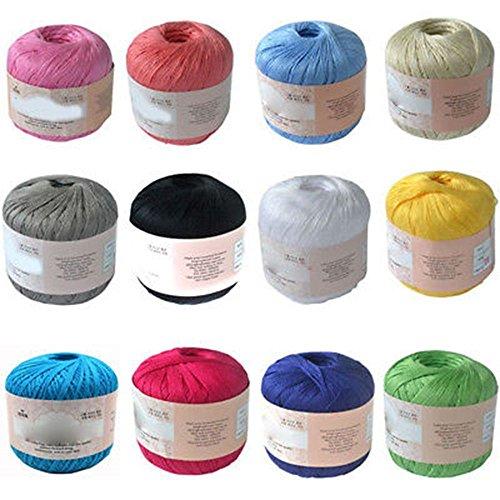 YONII Bolas de hilo de hilo suave de algodón mercerizado Bordado natural Crochet Knitting Lace Jewelry para DIY Crochet Hardanger Cross Stitch, 12 colores diferentes, 50 g/bola