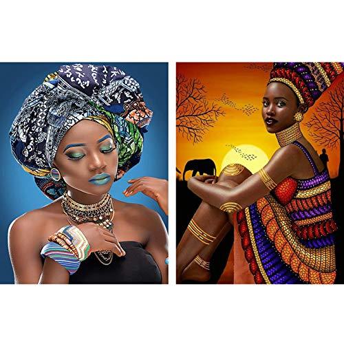 Reofrey 2 Piezas 5D Diamond Painting Pintura Diamante Ropa Faldas Negras Africanas Mujeres Arte Bricolaje, Punto Cruz Imitación Bordado Pegatinas de Pared Decoración de sala 30x40cm