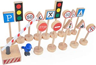 15Pcs Wood Road Signs Traffic Warning Pedestrian Parking Scene Roadblock Sign for Kids Montessori Educational Wooden Toys Red