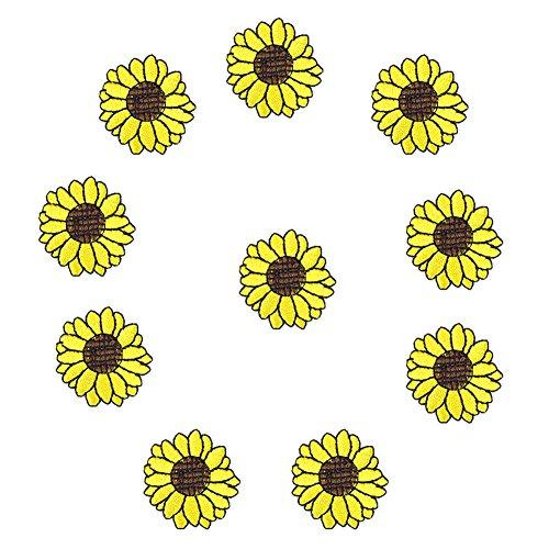 XUNHUI - Parches para Ropa (10 Unidades), diseño de Girasoles, Color Amarillo