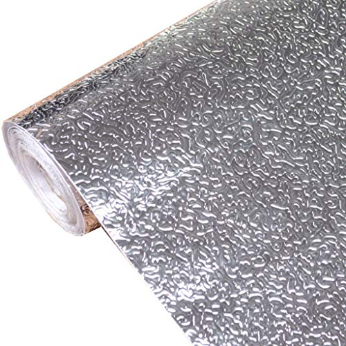 niumanery Kitchen Wall Stove Aluminum Foil Oil-Proof Stickers Anti-fouling High-Temperature Self-Adhesive Croppable Wallpaper Wall Sticker