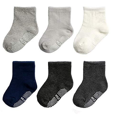 Yafane 12 Paar Baby Socken Antirutsch Anti-Rutsch Neugeborenes Kinder Kleinkinder Babysocken für 0-7 Jahre Baby Jungen und Mädchen (Grau-6 Paar, 1-3 Jahre)