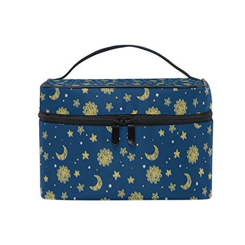 COOSUN Sun Moon and Stars Sac cosmétique sac en toile Voyage Toiletry Top Handle une seule couche de maquillage Sac Organisateur multi-fonction Case cosmétique pour Grand multicolore # 002