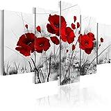 Cuadro en Lienzo Impresión de 5 Piezas Amapolas rojas 5 panel HD Fotos Pintura Arte Póster Modernos Salón Dormitorio Mural Decoracion de Pared-Con marco-55x100cm-Z2922