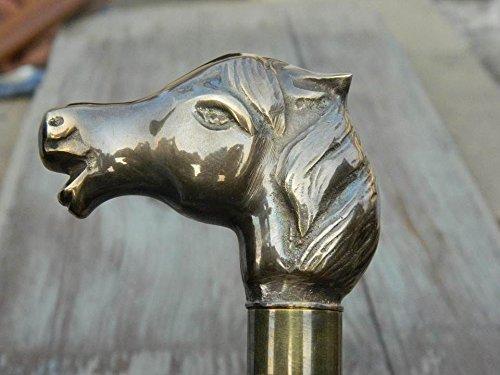 Delhi artes bonito hecho a mano cabeza de caballo bastón de madera bastón mango de latón macizo asequible precio buena calidad mejor para hombres/mujeres/los padres/Grand padres regalos gracia