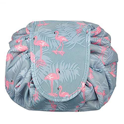 Kosmetiktasche Quick Makeup Kulturbeutel Kordelzug Tragbare Schminktasche Kosmetikbeutel Große Kapazität faul One-Step Organizer Wasserdicht Schnellpackung für Frauen Mädchen (Kosmetiktasche Flamingo)
