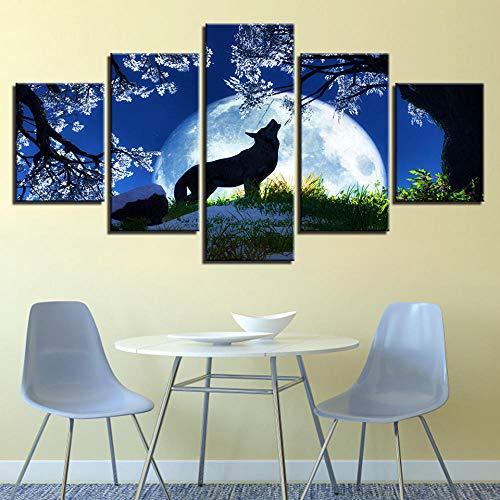 Lienzo 5 Piezas Animal Wolf Canvas Art Prints Lienzos Decorativos Cuadros Grandes Baratos Cuadros Decoracion Cuadros para Dormitorios Modernos Cuadros Decoracion Regalos Personalizados
