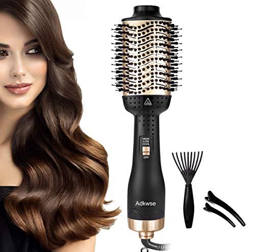 Adkwse 5 in 1 Haartrockner Multifunktions Warmluftbürste, Hair Dryer & Volumizer Heißluftbürste Negativer Lonic Föhnbürste Haarglätter Bürste Stylingbürsten Heißluftkamm für Alle Styling