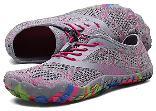 SAGUARO Barfußschuhe Damen Herren Zehenschuhe Traillaufschuhe Weich Bequem Barfussschuhe Fitnessschuhe Männer Frauen Trainingsschuhe für Joggen Laufen Wandern, Rouge Pink, 41