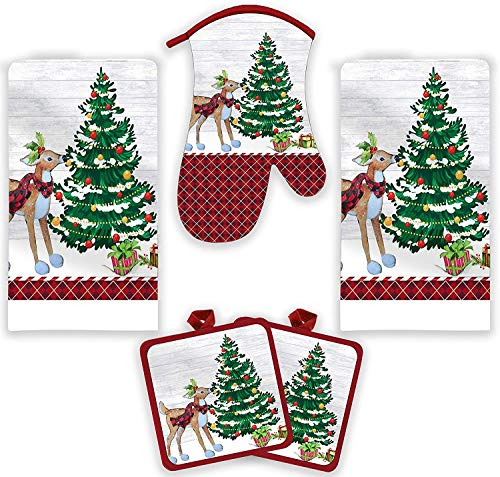 American Mills Christmas Kitchen Towel Set 5 Piece 2 Pot Holders & Towels with 1 Oven Mitt (Reindeer)