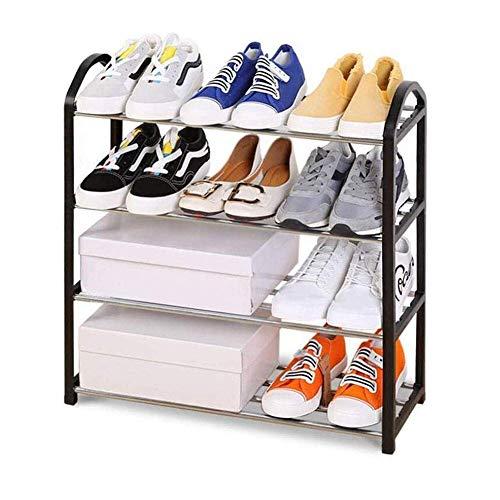 qazxsw Zapatero, Compacto y Funcional Se Adapta a Espacios Estrechos Tiene Capacidad para 10 Pares de Zapatos, fácil de Montar sin Herramientas Postes de Metal y Marco de ratán de pl