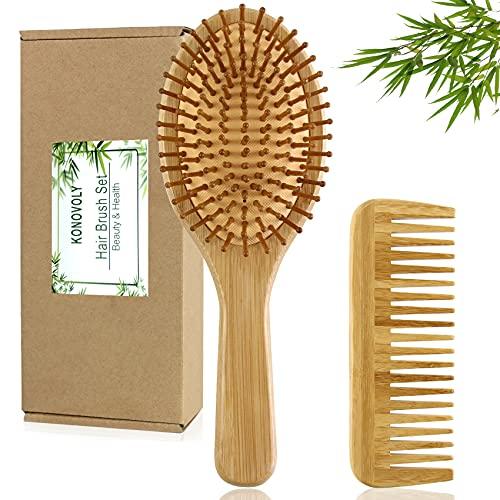 2 PCS Brosses à Cheveux en Bambou avec Peigne Démêlant Brosse à Cheveux de Massage du Cuir Chevelu pour Cheveux Naturels Bouclés et Secs, Kit Cadeau pour Femmes Hommes par KONOVOLY