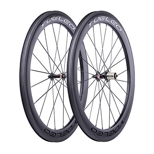 YOELEO Road Bike Wheels SAT C60 STD Clincher Carbon 700C Bicycle Wheelset for Training and Racing (25mm, Black Glossy)