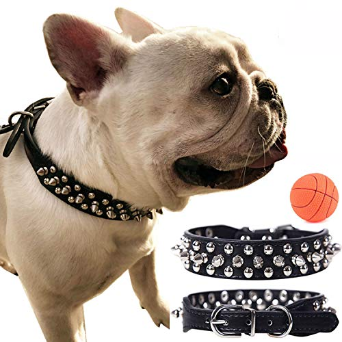teemerryca Adjustable Microfiber Leather Spiked Studded Dog Collars with a Squeak Ball Gift for Small Medium Large Pets Like Cats/Pit Bull/Bulldog /Pugs/Husky, Black, XL 17.7-20.5 inches