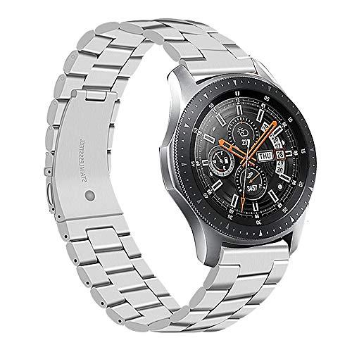 correa 22mm metal de acero inoxidable correas brazalete repuesto compatible con samsung galaxy watch 45mm 46mm/ gear s3 frontier/gear classic/smartwatch pulseras,Metal-Plata