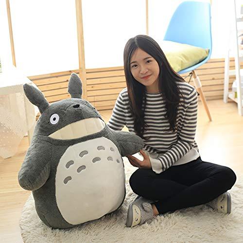 LONG-M 30-70Cm Kawaii Mi Vecino Totoro Juguetes de Peluche Suave Personaje de Anime Totoro Muñeca con Hoja de Dientes Juguetes para Niños,30cm