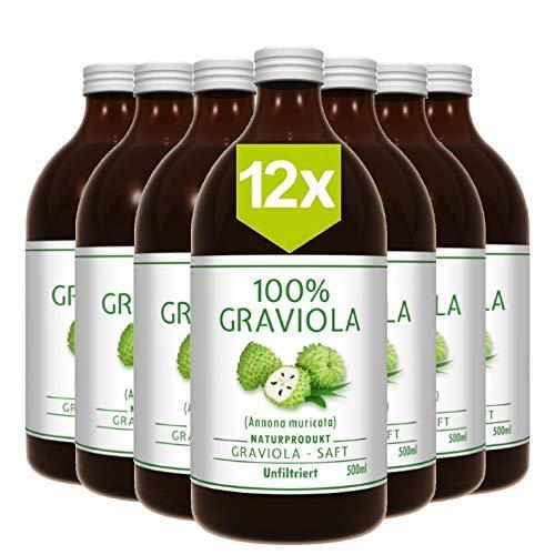 12 x 100% Graviola Direkt-Saft -unfiltriert & vegan- (12 x 500ml), aus 100% Graviola Püree. Stachelannone, Soursop, Corossol, Guanabana.