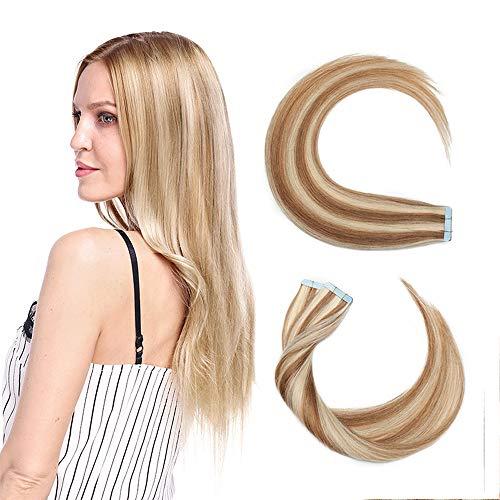 40 Pcs Extension Adhesive Naturel #12+613 MARRON CLAIR MECHE BLOND CLAIR - Rajout Vrai Cheveux Humain Bande Adhesive Type Fin - 50CM (1.5g*40pcs)
