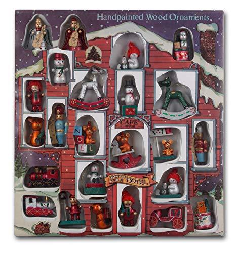 Brubaker 24-TLG. Set Weihnachtsbaumschmuck aus Holz, bis zu 7,5 cm große Figuren, handbemalt und in exkl. XXL Weihnachts-Geschenkbox
