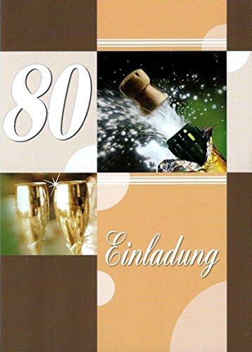 Einladungskarten 80. Geburtstag Frau Mann mit Innentext Motiv Sektkorken 10 Klappkarten DIN A6 im Hochformat mit weißen Umschlägen im Set Geburtstagskarten Einladung 80 Geburtstag Mann Frau K136