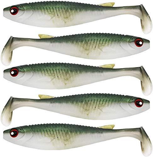 FISHN 5er Pack PaddleOne 8gr, 10cm Gummiköder zum Spinnangeln auf Barsch, Hecht, Zander und Forelle (Hunter)