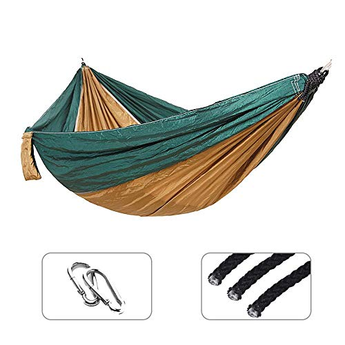 NM Unique Double hamac Nylon lit Suspendu Durable Ultra-léger lit de Couchage balançoire Camping en Plein air Voyage 2 Personnes avec Sac de Transport DarkGreenandBrown