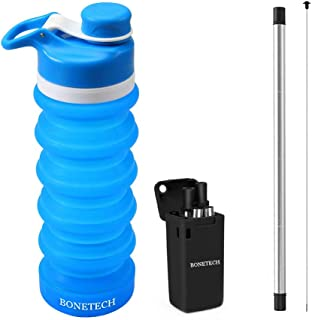 BONETECH Collapsible Water Bottle BPA Free, FDA Approved Food-Grade Silicone Portable Leak Proof Travel Water Bottle, 19oz