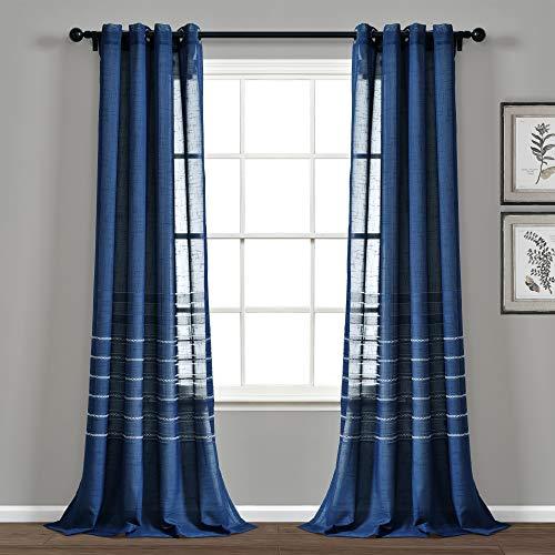 "Lush Decor Navy Bridie Grommet Sheer Window Curtain Panel Pair (84"" x 52""), 84"" x 52"