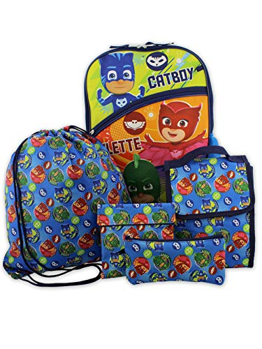 PJ Masks Boys Girls 5 piece 16 Inch Backpack Lunch Bag and Snack Bag School Set (One Size, Blue/Multi)