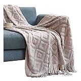 Superweiche Sofadecke, gestrickt, zweiseitig, Überwurf, Decke, Reise, Camping, Decke, für Couch, Sofa, Bett, Sofa, Decke, Decke, 130 x 200 + 10 cm, Hellgrau
