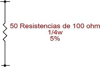 50X Resistencias de carbón 100 Ohm 1/4W 0,25W 5%