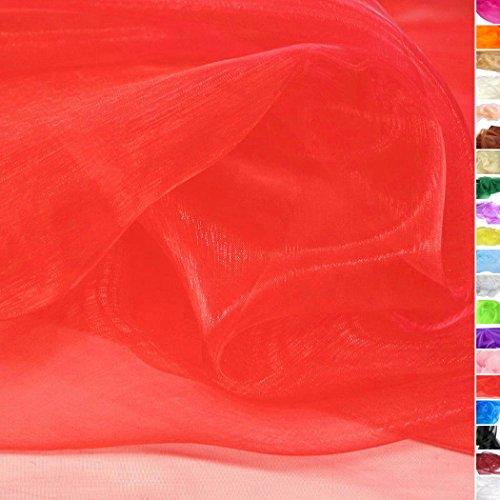 TOLKO 1m Organza Stoff als Dekostoff Meterware   Hauch Zart, Fein Durchsichtig zum Nähen Dekorieren Basteln   145cm breit leichte Glanz Stoffe Gardine Vorhänge Tischdecken Deko Schals (Rot)