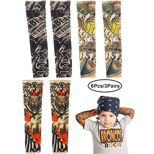 XBDZR Temporary Tattoo Sleeves for Kids, 6 PCS Art Cooling Arm Cover Up Fake Slip On Arm Sunscreen Sleeves for Child Baby